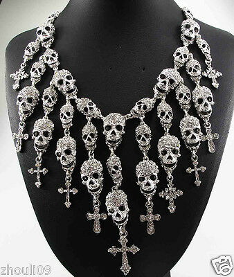 wholesale Design Lady Statement crystal chunky chain charm silver necklace 857