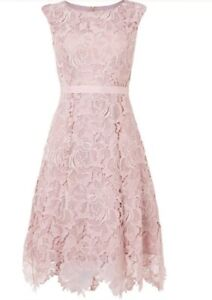 Phase Eight 8 Pink Lace Dress Size 8 Fit And Flare Dress Cocktail Mother Bride Ebay