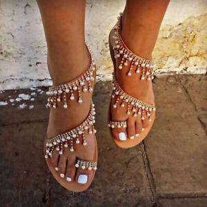 Women-Bohemian-Sandals-Flats-Pearl-Tassel-Clip-Toe-Summer-Beach-Flat-Sandals-USA
