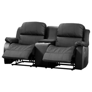 Kinosofa Lakos Sofa 2 Sitzer Schwarz Mit Relaxfunktion Und