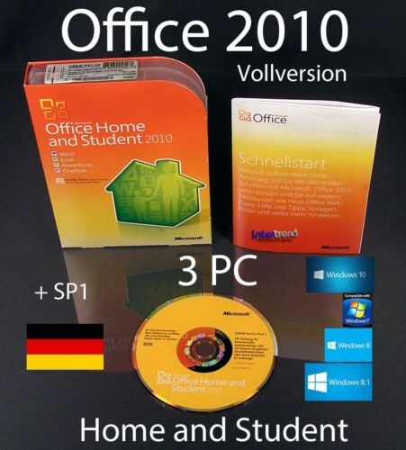 1 von 1 - Microsoft Office Home and Student 2010 Vollversion 3 PC Box, DVD + SP1 OVP
