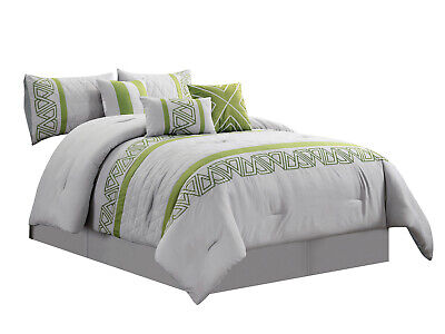 Geometric Triangle Embroidery|Gray Sage Green|Queen 7-Pc Nico Comforter Set