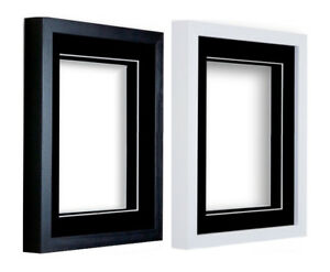 image is loading black or white wooden picture photo 3d box - White Frames