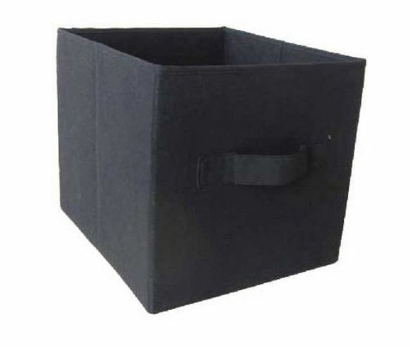 Mainstays Collapsible Storage Bin   Set Of 2   Black Fabric Storage Cubes