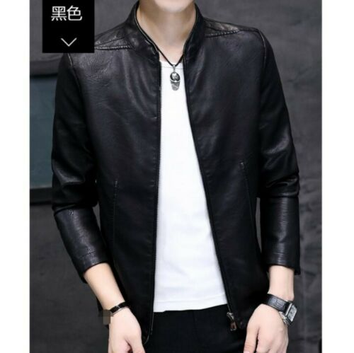 Men/'s Stand Collar Faux Leather Jacket Outdoor Motorcycle Biker Slim Fit Leisure