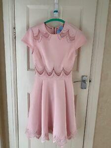 TED BAKER Rehanna pink floral lace fit & flare skirt skater dress size 0 (UK 8)
