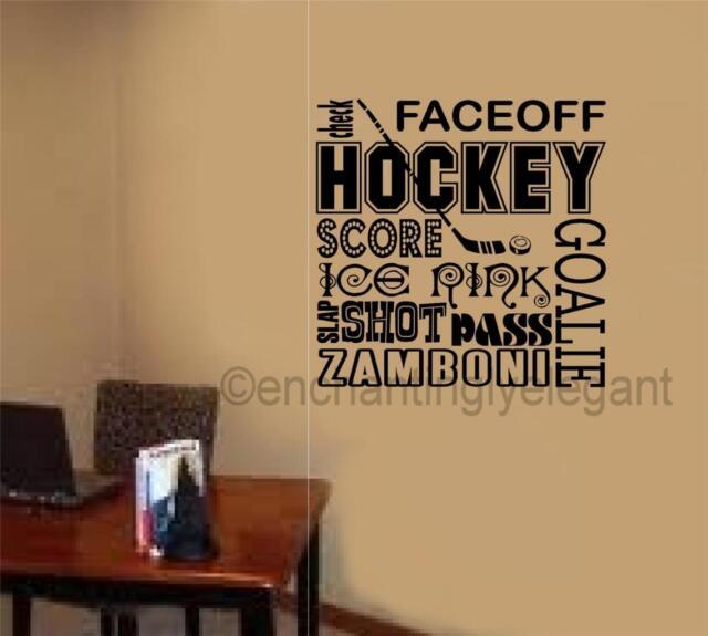 Hockey Sports Vinyl Decal Wall Sticker Words Lettering Teen Room Office Decor