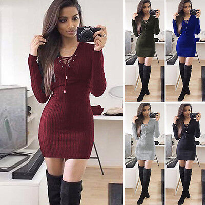 Damen langarm Bodycon Sweater Strick Long Pullover Kleid Minikleid V-Ausschnitt
