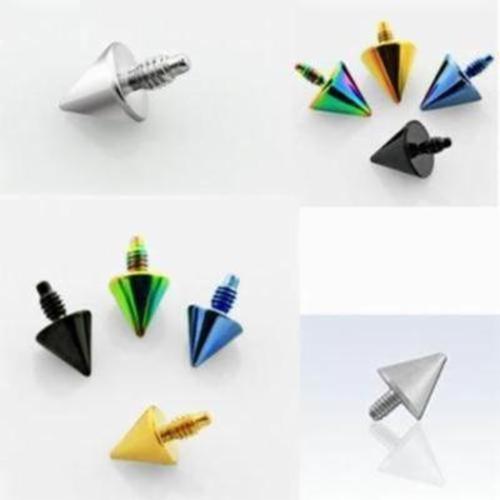 1-4PC Color Cone Dermal Anchor Top Screws Triangle Pyramid Flat Bottom Arrow Set