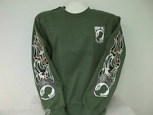 POW-MIA-Long-Sleeve-T-Shirt-With-Camo-Flame-Sleeve-Prints-Your-Choice-Of-Color