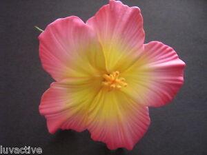 Hawaiian Foam Hibiscus Flower PinUp Hair PICK Pink Yellow Wedding Bridal Prom