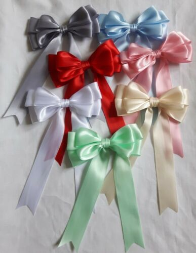 """1/"""" Double  Bow Variety Pack of 7 Bows Large Satin Bows 10cm 4/"""" wide by 2.5cm"""