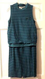 ea06ae8676a Vintage 80 s Dress Teal Gray Stripes Joni Blair California Retro ...