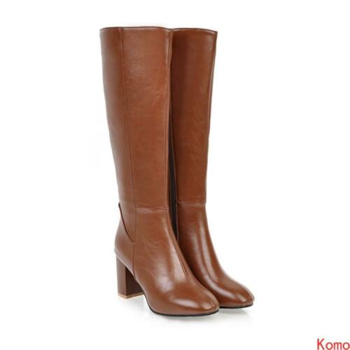 Details about  /Chic Womens lady Chunky heel side zipper knee high knight Boots casual Shoes new