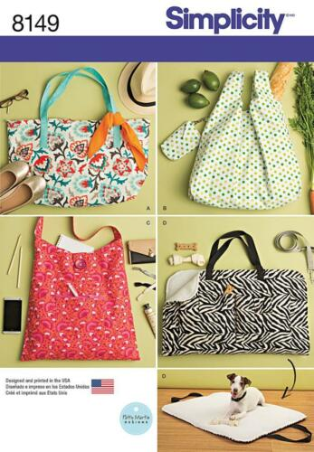SIMPLICITY SEWING PATTERN TOTES & TRAVE DOG BED 8149 A