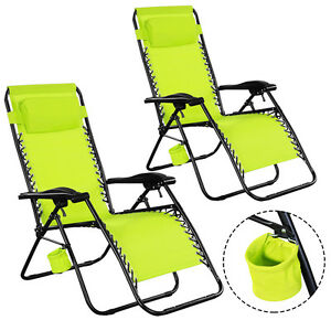2PC-Zero-Gravity-Chairs-Lounge-Patio-Folding-Recliner-Outdoor-Green-W-Cup-Holder