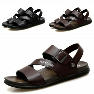 mens faux leather slingback summer sandals open toe casual