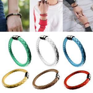 Unisex-Women-Men-Braided-Leather-Steel-Magnetic-Clasp-Bracelet-Handmade-18-20cm