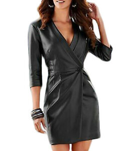 New-Women-Black-Genuine-Lambskin-Leather-Evening-Cocktail-Ladies-Party-Dress-122