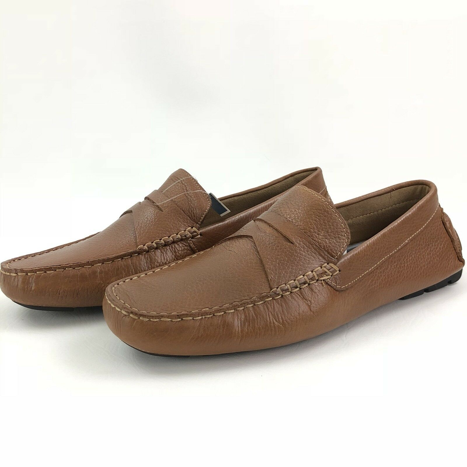 Donald Pliner Alondro Brown Calf Leather Driving Penny Loafer Brown Size 9 New