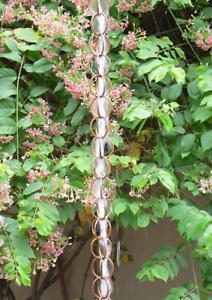Pure Copper 8-1//2-Feet Length Monarch Ring Rain Chain