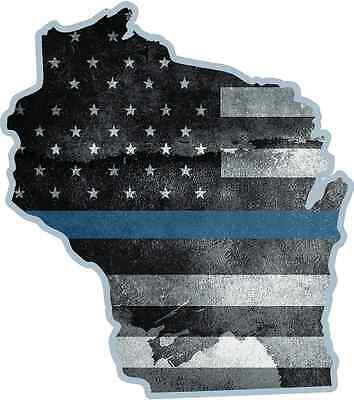 """5/"""" ID Idaho State Thin Blue Line Tattered American Flag Police Sticker Law"""