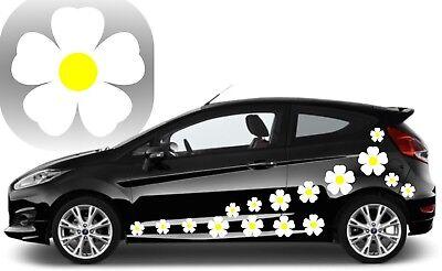 DAISY STICKERS Stickers 32 Violet et Jaune Fleur Voiture Autocollants Voiture Graphique