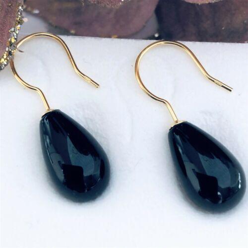 Ohrhänger echt 585 Gold Onyx beh glatt schwarz Tropfen Ohrringe 25x8mm 14k GG