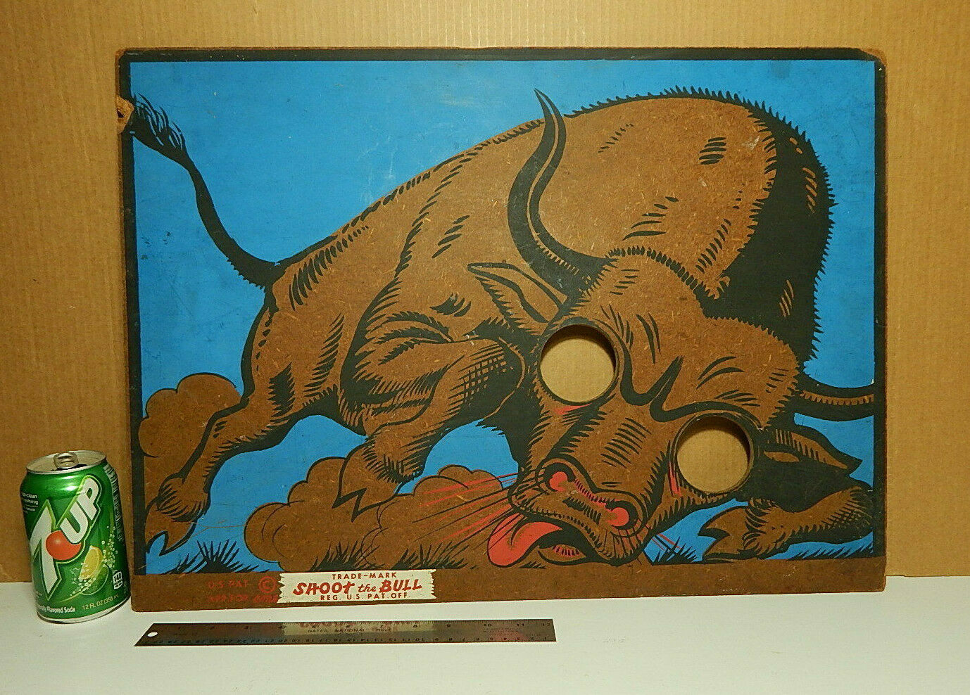 Vintage Westen Cowboy 1940er Jahre Shoot The Bull Bean Tasche Toss Adult Game Bar Sign