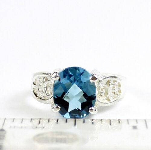 SR369-Handmade London Blue Topaz 925 Sterling Silver Ladies Ring