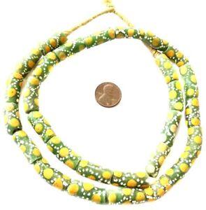 Handmade-Cylinder-Multi-Green-Colored-Ghana-Krobo-Recycled-African-trade-beads