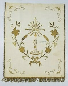 Antique-French-Hand-Embroidery-Catholic-Priest-Silvered-Church-Panel-53x44cms