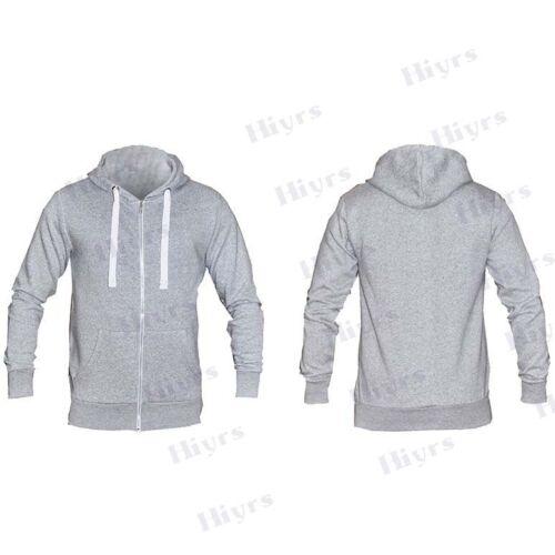 Mens American Fleece Zip Up Hoody GREY Jacket new Sweatshirt Hooded Zipper boys