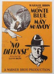 NO-DEFENSE-Vintage-1929-WB-Vitaphone-Film-MONTE-BLUE-Movie-Herald-MAY-McAVOY