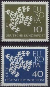 Germany-West-1961-SG-1281-1282-Mi-367-8-MNH-Europa-Doves-Birds