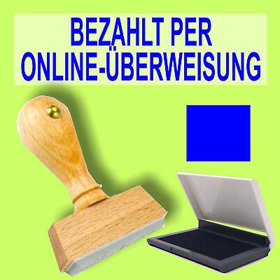 Bezahlt Per Online-Überweisung Holzstempel 10 X 35mm Büro Stempel + S1f Blau Ste