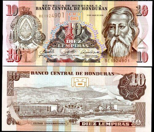 HONDURAS 10 LEMPIRAS 2006 P 92 UNC