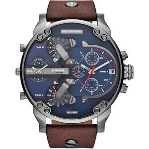 Diesel-DZ7314-Mr-Daddy-2-0-57mm-Correa-de-Cuero-Funda-Reloj-con-Cronografo-Esfera-Azul-para-Hombre