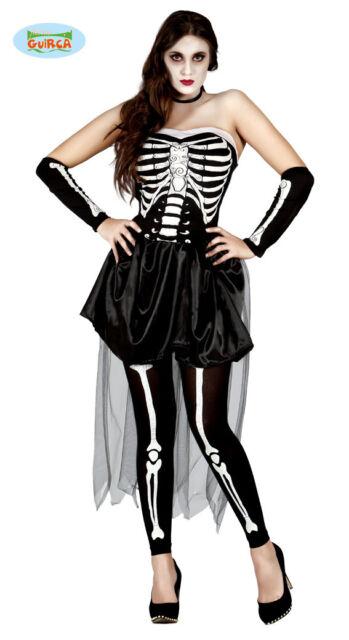 80948 GUIRCA Costume vestito scheletro halloween carnevale donna adulto mod