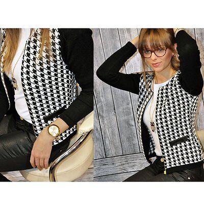 New Fashion Womens Long Sleeve Slim Casual Plaid Jacket Blazer Suit Coat Outwear
