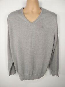 Herren Calvin Klein Wolle Pullover Langarm V-Neck Pull Over Sweater Größe Large L