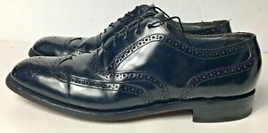 Bostonian-Black-Leather-Wingtip-Shoes-25413436-Made-In-USA-US-Mens-9-5-D-B