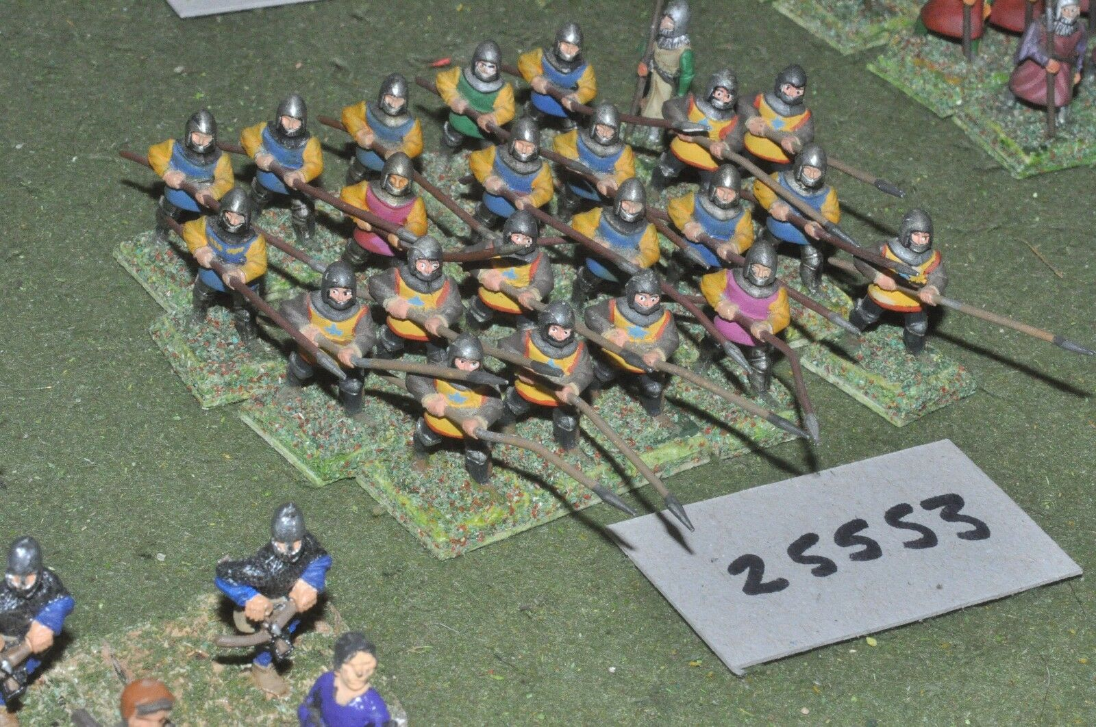 25mm medieval   english - spearmen 23 figures - inf (25553)