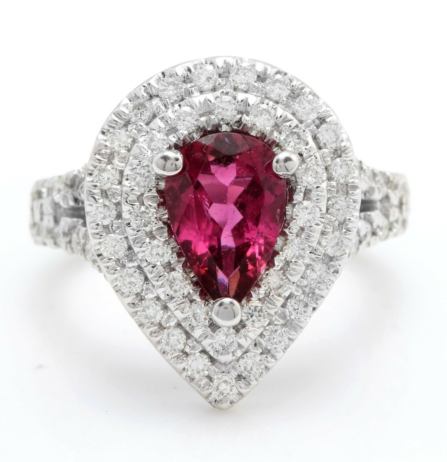 2.58 Carat Natural Tourmaline and Diamonds in 14K Solid White gold Women Ring