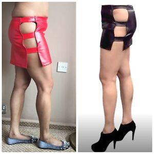 55f4b8cab5b Rubber Pvc Look Skirt Mini Black Red Girl High Waist Faux Leather ...