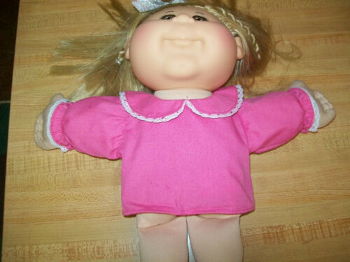 """PINK BLOUSE W// LACE ON COLLAR AND SLEEVES for 12--14/"""" CPK Cabbage Patch Kids"""