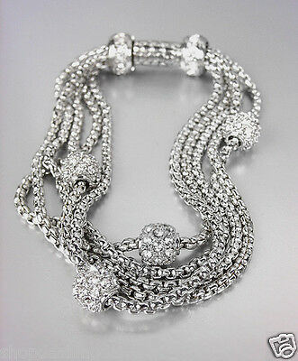 CLASSIC Designer Inspired Pave Eternity Balls 5 Box Chains Magnetic Bracelet