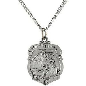Mrt st michael police badge sterling silver small pendant medal image is loading mrt st michael police badge sterling silver small mozeypictures Choice Image