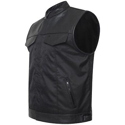 Mens Sons of Anarchy Genuine real Leather Waistcoat Motorcycle Biker Vest Brown