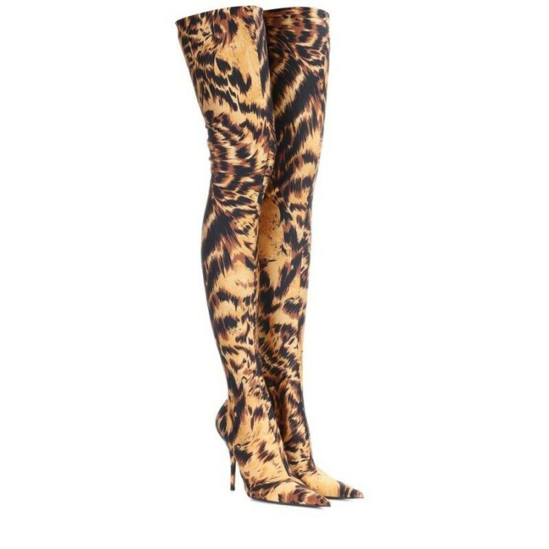 Womens Sexy Leopard Pull On Over Knee High Boots Pointy Toe High Heels Plus Size